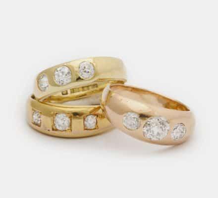 18k and diamond gypsy rings
