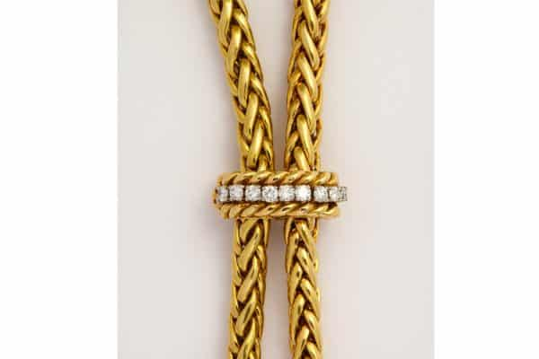 18k gold and diamond lariat necklace