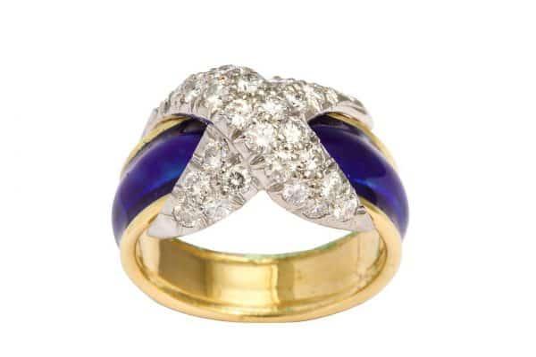 schlumberger enamel, diamond and eighteen carat twist ring