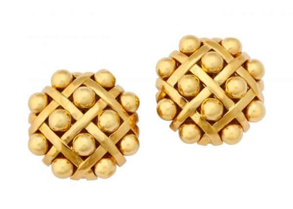chanel 18k gold earrings