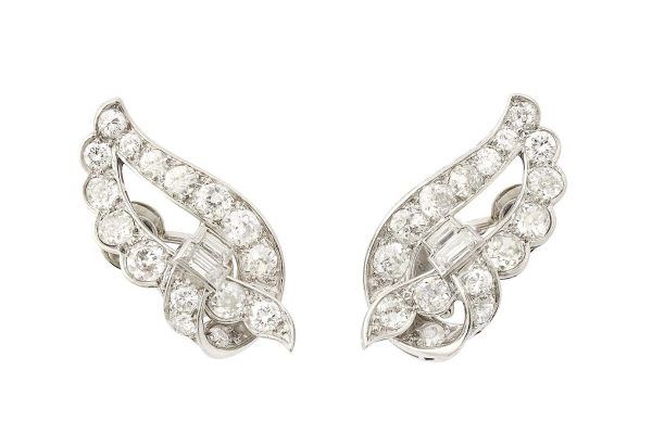 rene boivin platinum and diamond leaf earrings