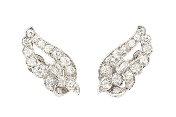 rene boivin platinum and diamond leaf earrings