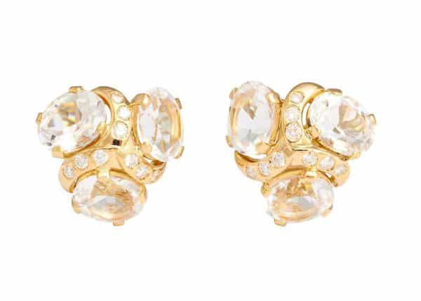 verdura three stone white topaz earrings