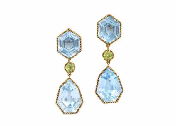verdura blue topaz and peridot byzantine drop earrings
