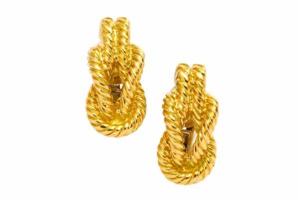 hermes vintage gold nautical knot earrings