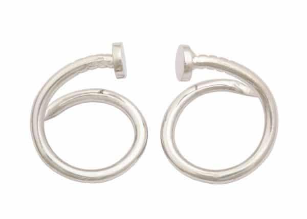 """aldo cipullo """"juste un clou"""" white gold earrings"""