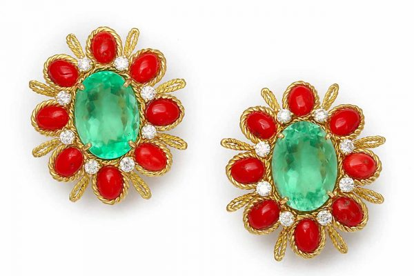 Tony Duquette 18k gold, coral, fluorite and topaz earrings