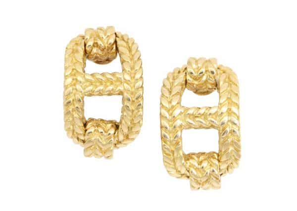 hermes chaine d'ancre gold earrings