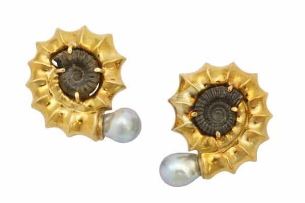 elizabeth gage 18k an ammonite earrings