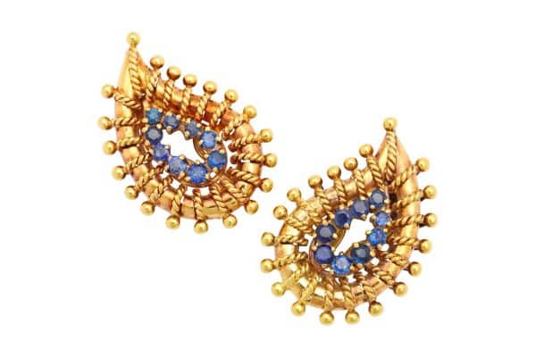 vintage tiffany sapphire and 18k gold paisley earrings