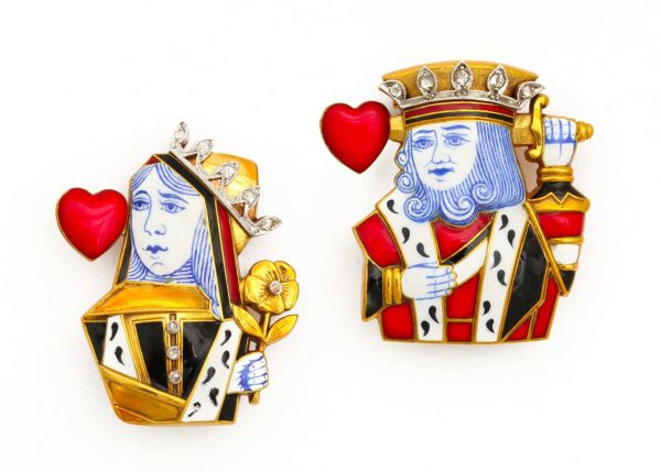 cartier vintage 18k and diamond king and queen of hearts pins