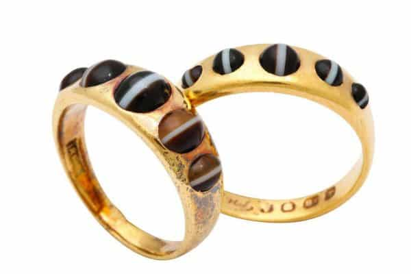 antique agate and 18k gold mourning rings