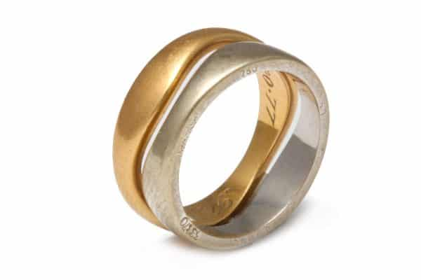"""cartier two color 18k """"love"""" stacked rings"""