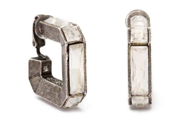 lanvin crystal and sterling geometric hoop earrings