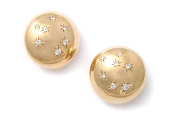 retro american gold and diamond earrings