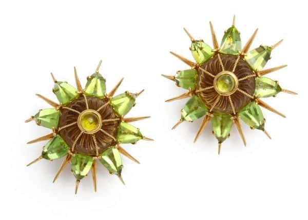 tony duquette green peridot earrings