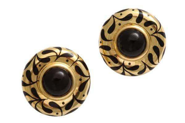 elizabeth gage 18k and onyx earrings