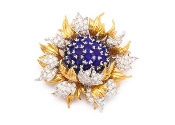 tiffany sea anemone sapphire and diamond pin