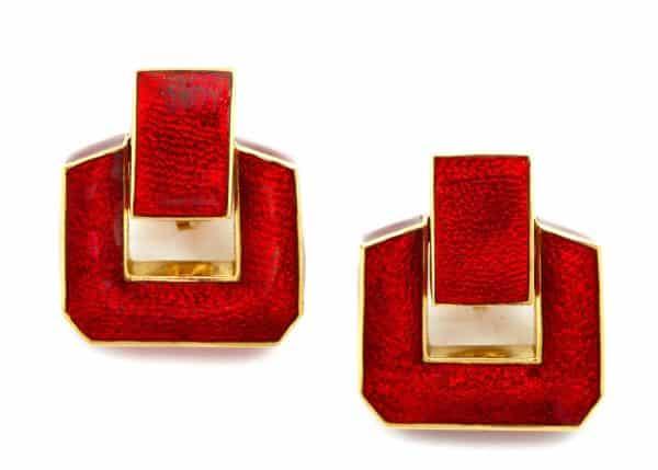 david webb 18k gold and red enamel doorknocker earrings