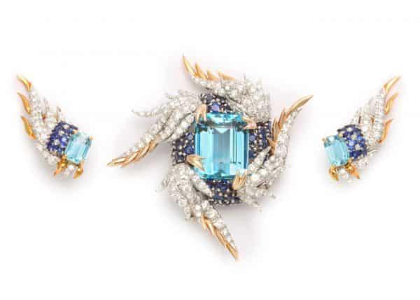"""schlumberger """"paris flame"""" suite in aquamarine, sapphire and diamond"""