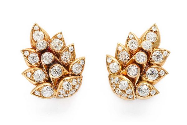 "rene boivin diamond ""leaf"" earrings"