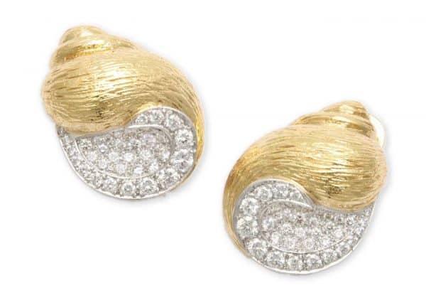 verdura gold and diamond shell earrings