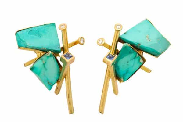 jean vendome 18k, diamond and turquoise earrings