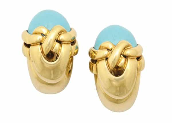 1970s french turquoise and 18k ear clips