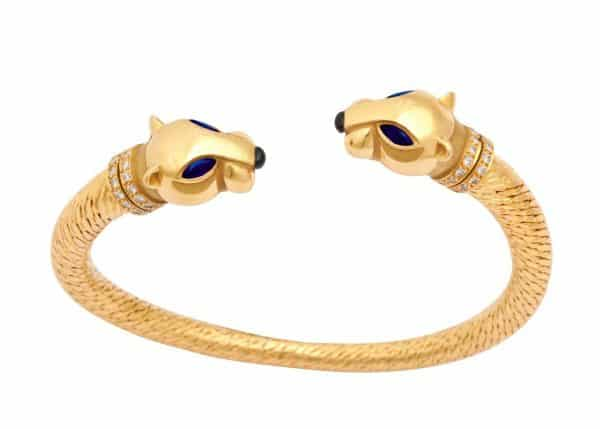 cartier panthere 18k gold, sapphire and diamond bracelet