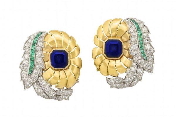 raymond yard sapphire, platinum, diamond, emerald and 18k earrings