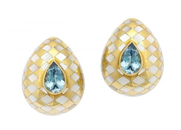 angela cummings 18k, aquamarine and mother of pearl earrings