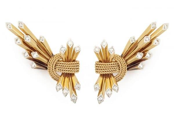 webb 1950's 18k and diamond geometric earrings