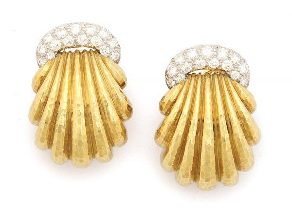 "david webb ""shell"" 18k and diamond earclips"