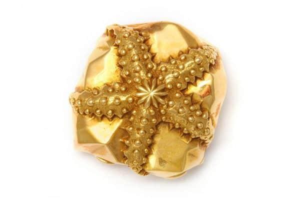 schlumberger 18k gold starfish pillbox