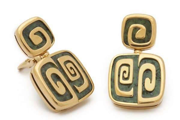 bulgari green garnet and 18k geometric earrings