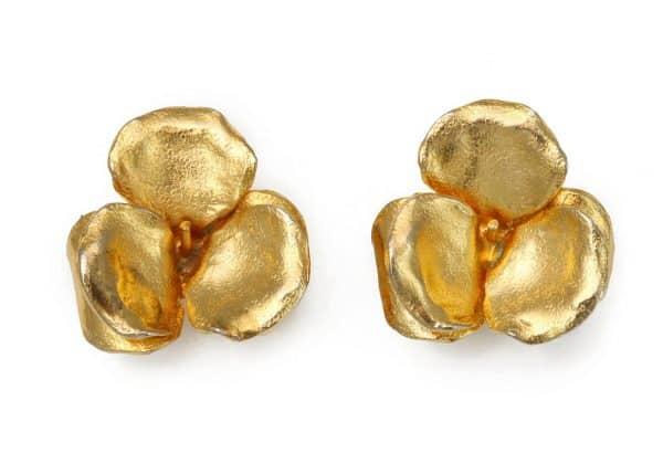 lanvin gold flower earrings