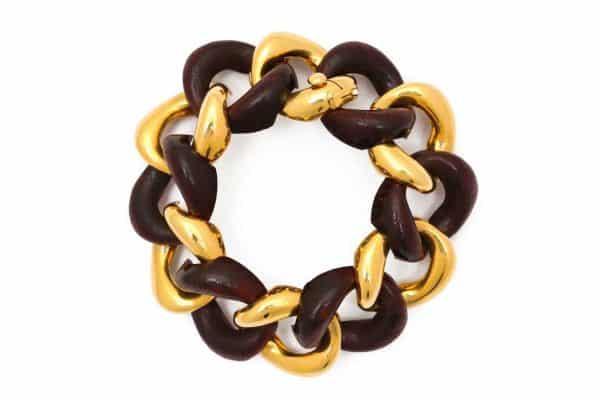 seaman schepps cocobola wood and gold bracelet