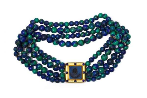 elizabeth locke azuremalachite intaglio necklace