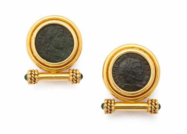 elizabeth locke 18k gold and coin earrings