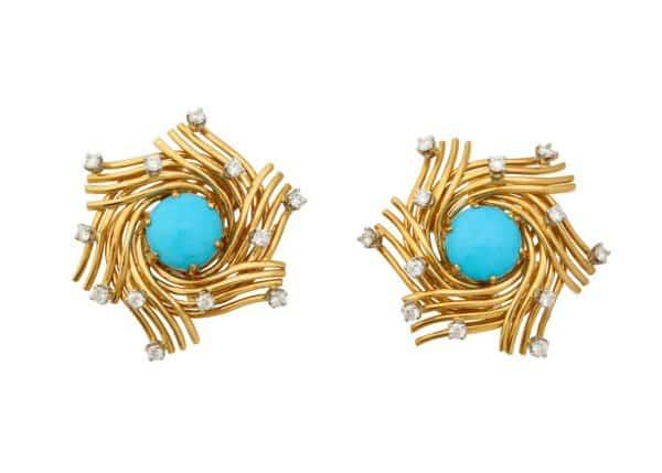 schlumberger turquoise, 18k, diamond bird's nest earrings