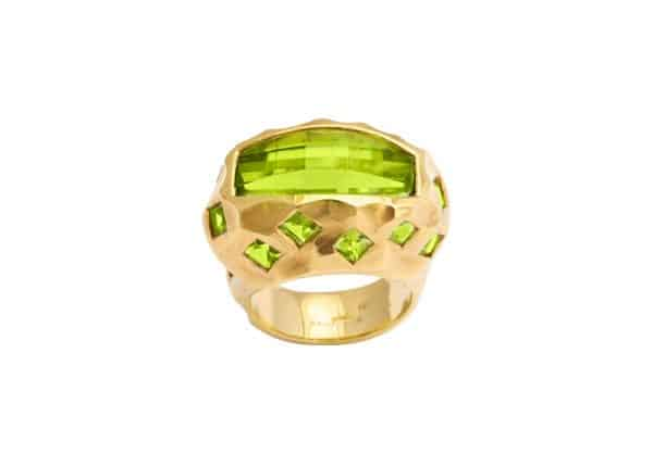 tony duquette peridot and 18k gold ring