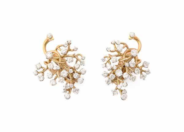 """van cleef gold and diamond """"tree of life"""" earrings"""