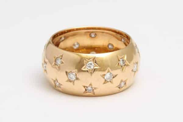 antique gold and diamond ring with diamond stars
