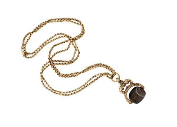 antique intaglio on antique fob chain