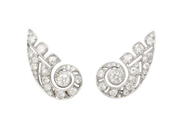 boivin deco diamond earrings, ca.1930s