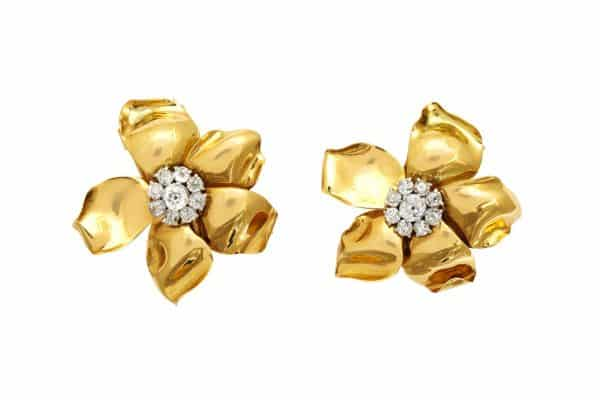 "cartier retro ""flower"" 18k and diamond earrings or ear clips"