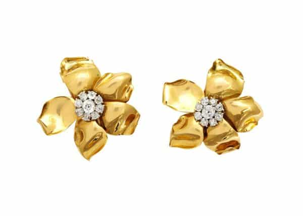 "cartier retro ""flower"" 18k and diamond earrings or ear clips"