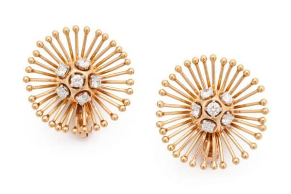 cartier sputnik gold and diamond earrings
