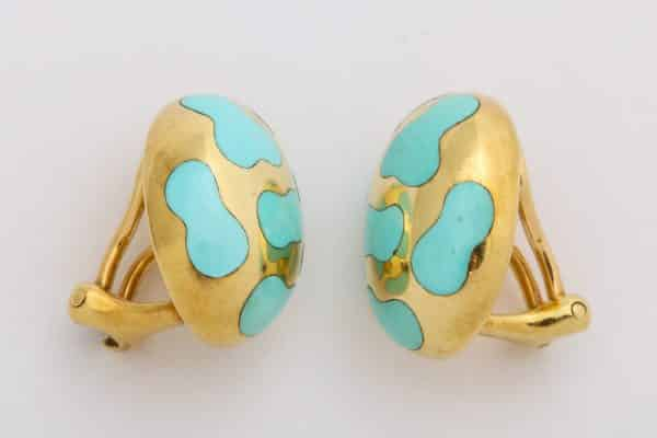 angela cummings turquoise and gold earrings
