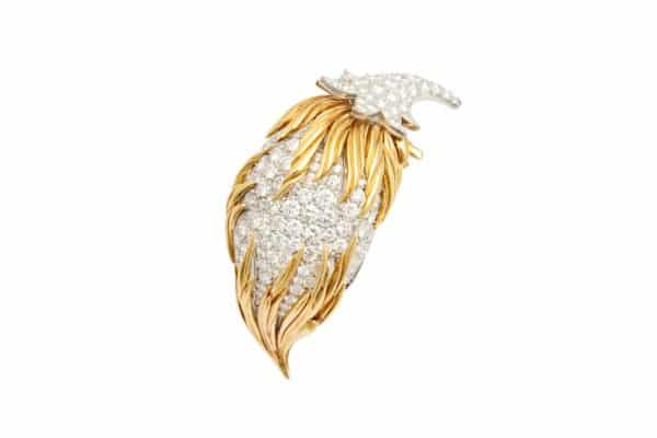 diamond and 18k sculpted pin